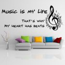 """(24''x9'') Vinyl Wall Decal Quote """"Music Is My Life"""" / Art Decor Home Sticker + Free Decal Gift!"""
