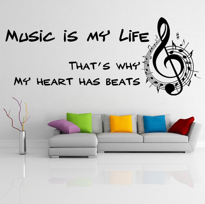 """(55''x22'') Vinyl Wall Decal Quote """"Music Is My Life"""" / Art Decor Home Sticker + Free Decal Gift!"""