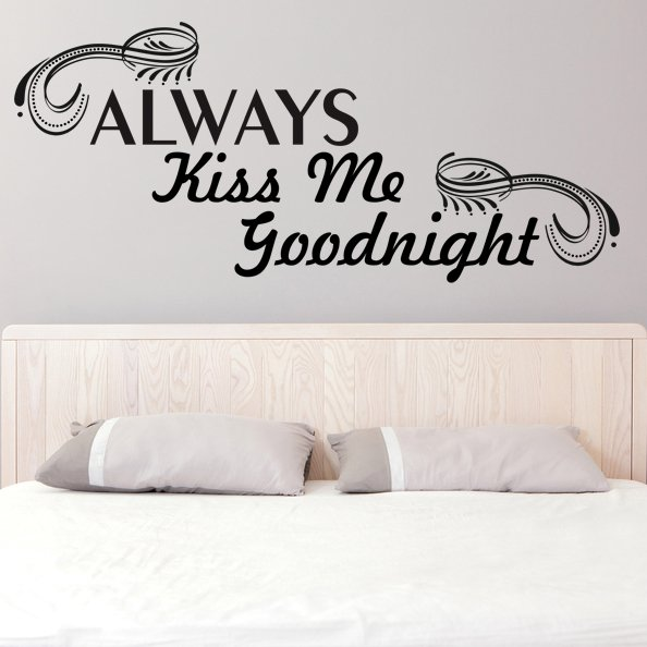 (28''x12'') Vinyl Wall Decal Quote Always Kiss Me Goodnight Art Decor Sticker + Free Decal Gift!