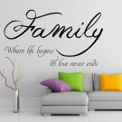 (55''x32'') Vinyl Wall Decal Quote Family / Inspirational Text Art Decor Sticker + Free Decal Gift!
