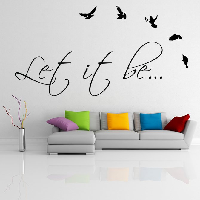 (39''x20'') Vinyl Wall Decal Quote Let It Be by The Beatles, bird / Decor Sticker + Free Decal Gift!