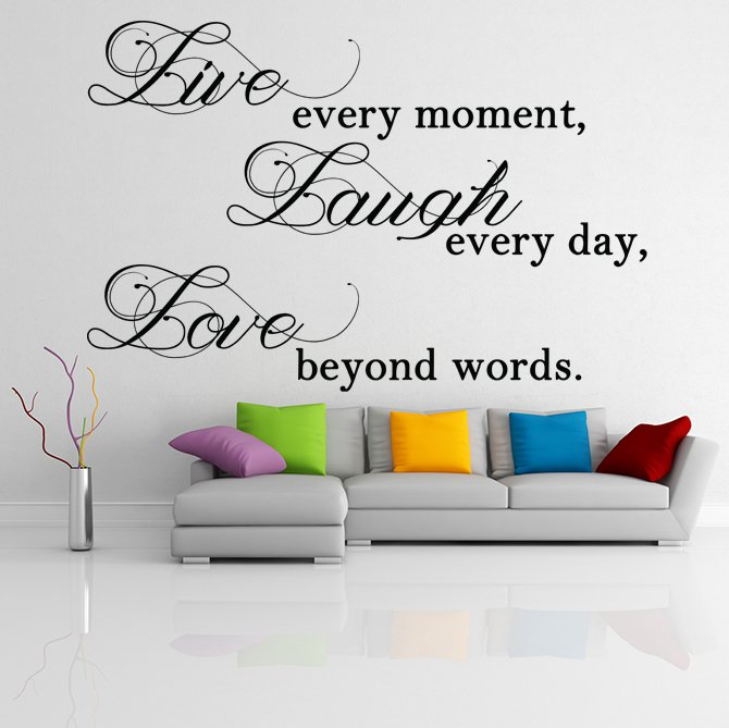 """(24''x16'') Vinyl Wall Decal """"Live Laugh Love"""" / Inspirational Text Decor Sticker + Free Decal Gift!"""