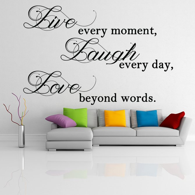 "(35''x23'') Vinyl Wall Decal ""Live Laugh Love"" / Inspirational Text Decor Sticker + Free Decal Gift!"