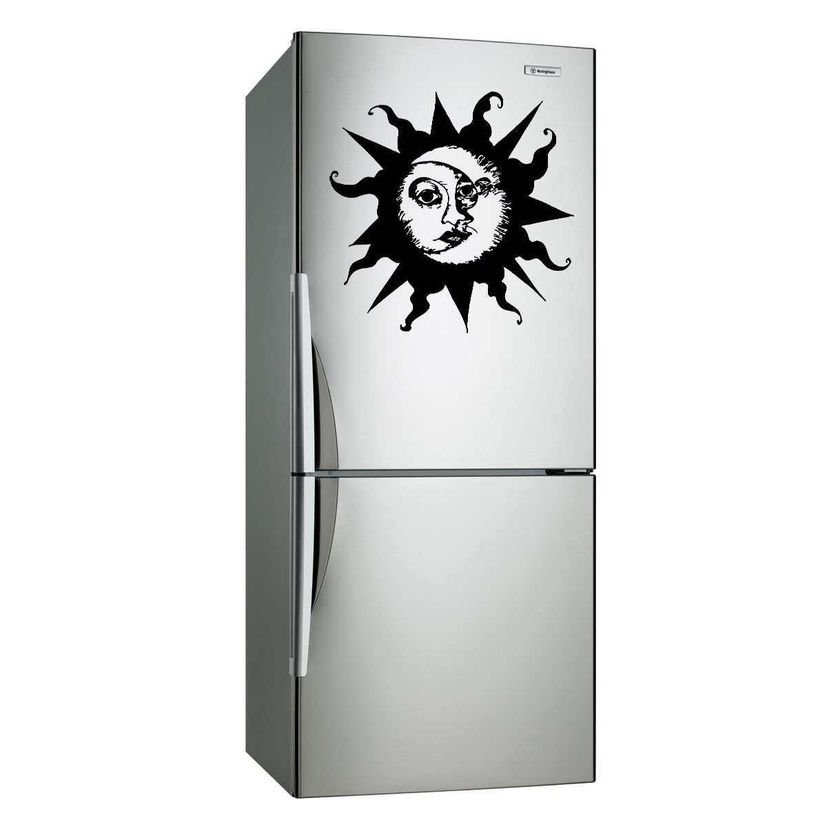 (28''x26'') Vinyl Wall Decal Sun & Moon / Crescent Ethical Symbol Decor Sticker + Free Decal Gift!
