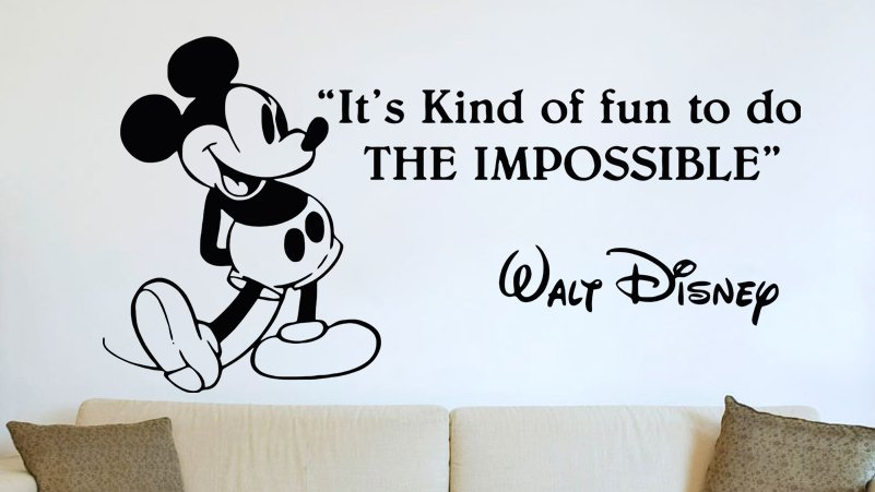 (35''x18'') Vinyl Wall Decal Mickey Mouse Walt Disney Sticker Art Decor Home + Free Decal Gift!