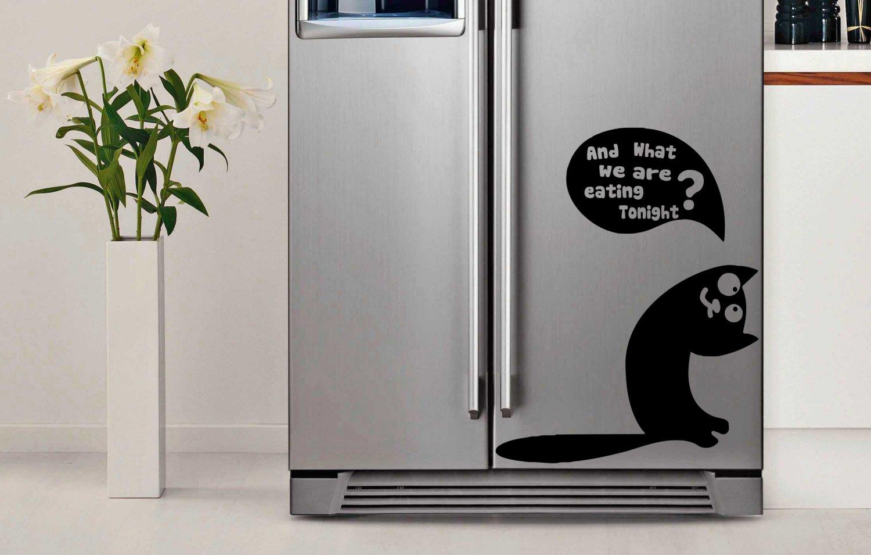 (9''x12'') Vinyl Fridge Decal Cute Curious Cat / Decor Sticker, Fridge Sticker + Free Decal Gift!