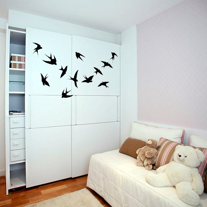 (35''x28'') Vinyl Wall Decal Flock of Birds / Art Decor Home Sticker + Free Decal Gift