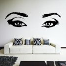 (16''x5'') Vinyl Wall Decal Realistic Womens Eyes Silhouette Art Decor Sticker + Free Decal Gift!