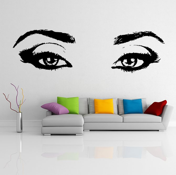 (24''x7'') Vinyl Wall Decal Realistic Womens Eyes Silhouette Art Decor Sticker + Free Decal Gift!
