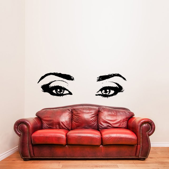 (31''x9'') Vinyl Wall Decal Realistic Womens Eyes Silhouette Art Decor Sticker + Free Decal Gift!
