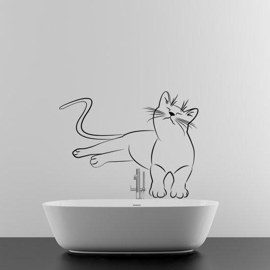 (55''x42'') Vinyl Wall Decal Cute Relaxed Cat Kitten Silhouette Art Decor Sticker + Free Decal Gift!