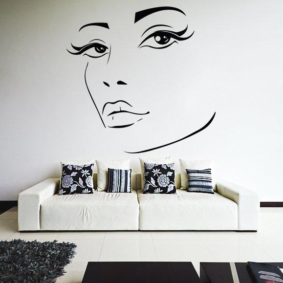 (24''x23'') Vinyl Wall Decal Womens Elegant Face Silhouette Art Decor Sticker + Free Decal Gift!