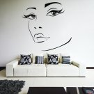 (24''x23'') Vinyl Wall Decal Womens Elegant Face Silhouette Art Decor Sticker + Free Decal Gift!