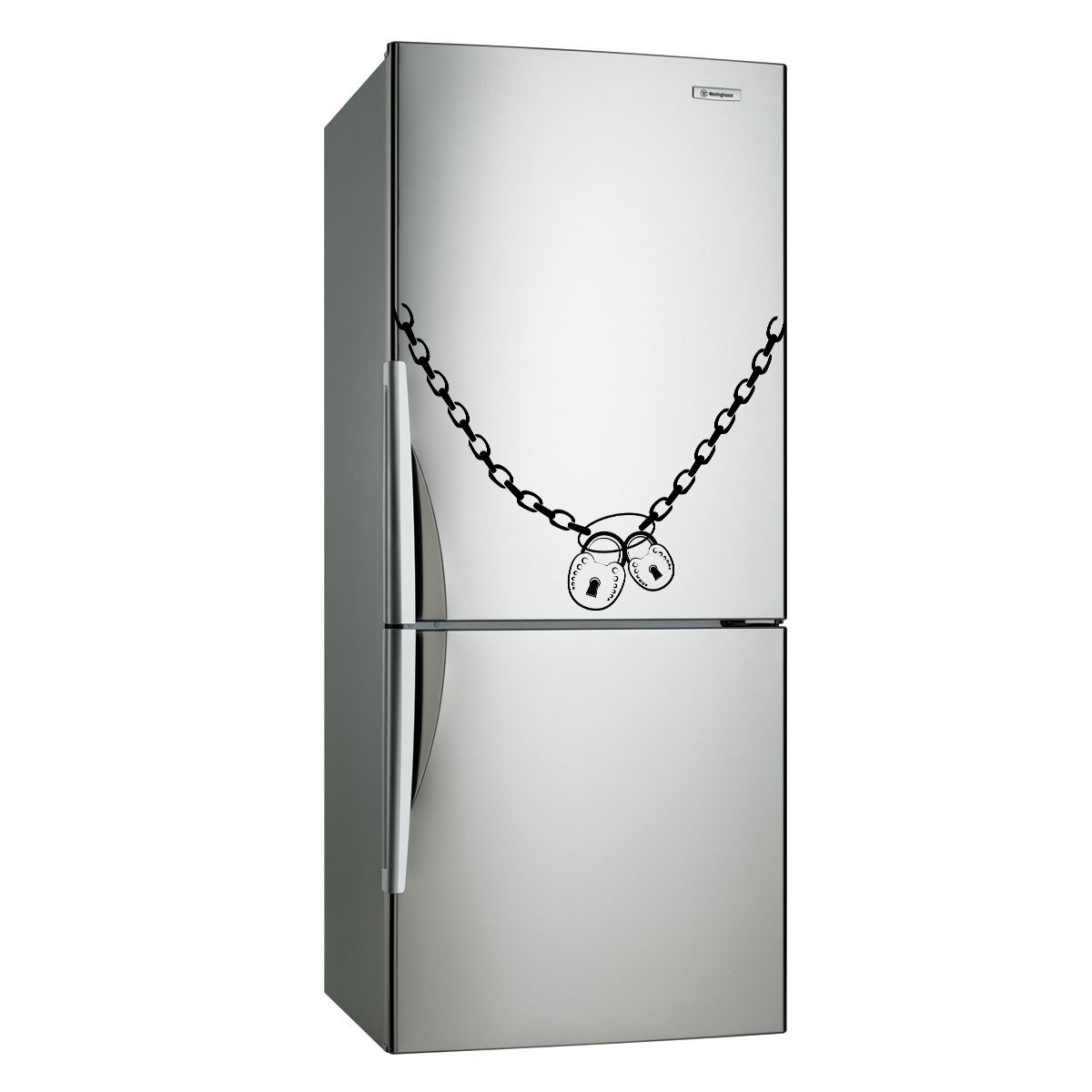 (16''x12'') Vinyl Fridge Decal Lock & Chain Refrigerator Art Decor Home Sticker + Free Decal Gift!