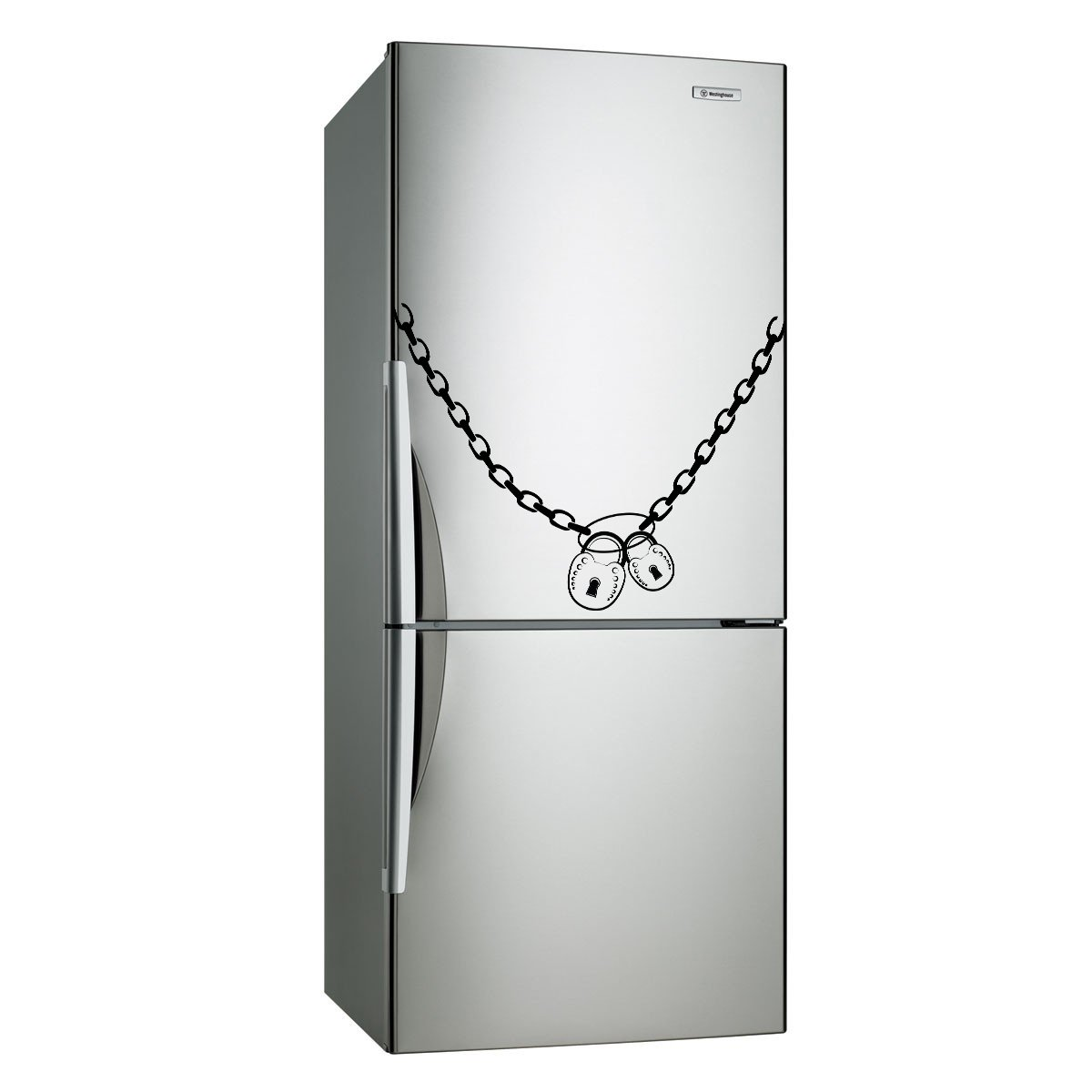 (35''x27'') Vinyl Fridge Decal Lock & Chain Refrigerator Art Decor Home Sticker + Free Decal Gift!