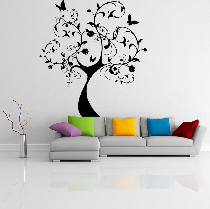(25''x28'') Vinyl Wall Decal Huge Tree With Butterflies & Leaves Decor Sticker + Free Decal Gift!