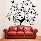 (43''x47'') Vinyl Wall Decal Huge Tree With Butterflies & Leaves Decor Sticker + Free Decal Gift!