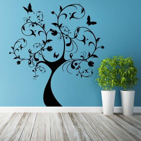 (51''x55'') Vinyl Wall Decal Huge Tree With Butterflies & Leaves Decor Sticker + Free Decal Gift!