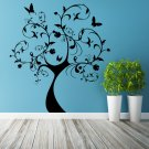 (58''x63'') Vinyl Wall Decal Huge Tree With Butterflies & Leaves Decor Sticker + Free Decal Gift!