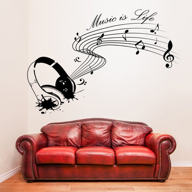 (39''x27'') Vinyl Wall Decal Quote Music is life with Headphones / Decor Sticker + Free Decal Gift!
