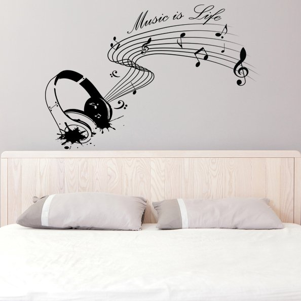 (55''x37'') Vinyl Wall Decal Quote Music is life with Headphones / Decor Sticker + Free Decal Gift!