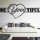 (35''x13'') Vinyl Wall Decal Quote Be*You*tiful, Heart Shape / Art Decor Sticker + Free Decal Gift!