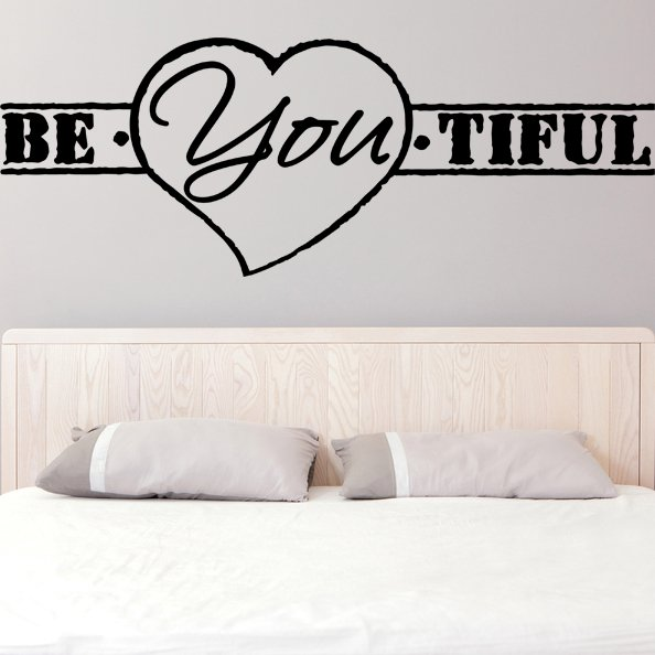 (47''x17'') Vinyl Wall Decal Quote Be*You*tiful, Heart Shape / Art Decor Sticker + Free Decal Gift!