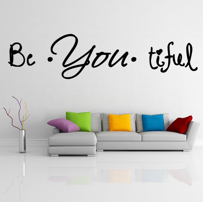 (31''x9'') Vinyl Wall Decal Quote Be*You*tiful / Inspiration Art Decor Sticker + Free Decal Gift!