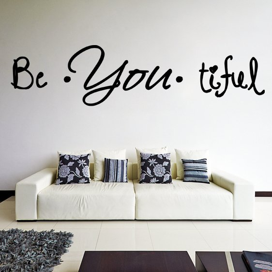 (35''x10'') Vinyl Wall Decal Quote Be*You*tiful / Inspiration Art Decor Sticker + Free Decal Gift!