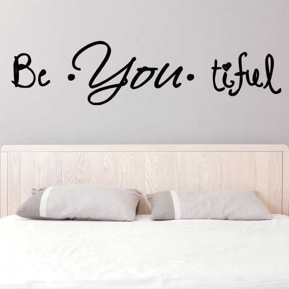 (47''x13'') Vinyl Wall Decal Quote Be*You*tiful / Inspiration Art Decor Sticker + Free Decal Gift!