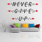 (28''x16'') Vinyl Wall Decal Quote Never Give Up with Heart Pulse / Decor Sticker + Free Decal Gift!