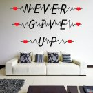 (35''x21'') Vinyl Wall Decal Quote Never Give Up with Heart Pulse / Decor Sticker + Free Decal Gift!