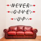 (39''x23'') Vinyl Wall Decal Quote Never Give Up with Heart Pulse / Decor Sticker + Free Decal Gift!