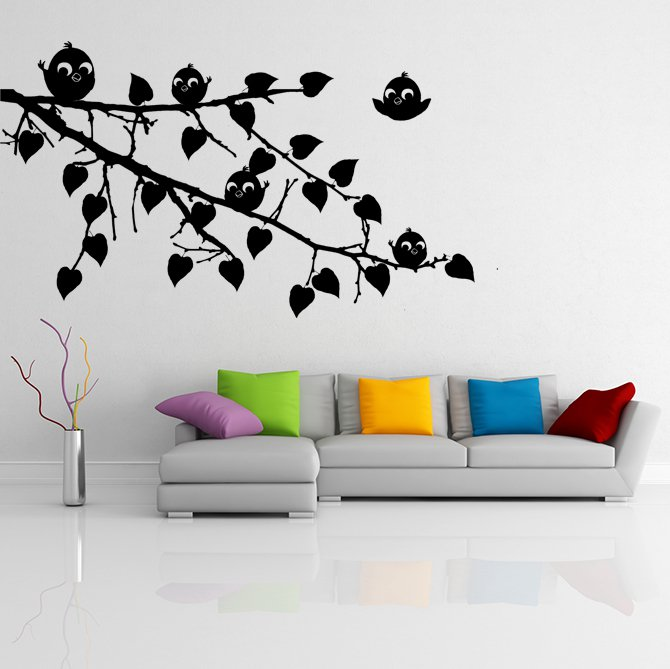 (24''x16'') Vinyl Wall Decal Tree Branch with leaves and Cute Birds Art Sticker + Free Decal Gift!