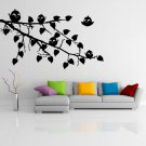 (28''x18'') Vinyl Wall Decal Tree Branch with leaves and Cute Birds Art Sticker + Free Decal Gift!