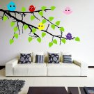 (31''x21'') Vinyl Wall Decal Tree Branch with leaves and Colorful Birds Sticker + Free Decal Gift!