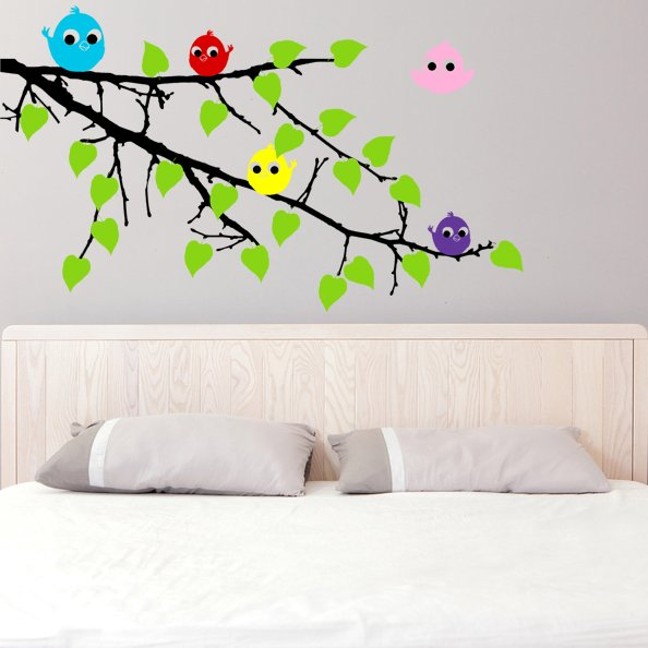 (47''x32'') Vinyl Wall Decal Tree Branch with leaves and Colorful Birds Sticker + Free Decal Gift!