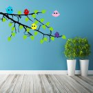 (55''x37'') Vinyl Wall Decal Tree Branch with leaves and Colorful Birds Sticker + Free Decal Gift!