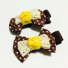 Brown Bow Girls Hair Clips
