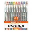Pilot Hi-Tec-C Gel Ink Pen, 0.4mm Basic Colors - 10 Pen Gift Set