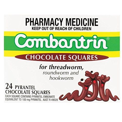 Combantrin Chocolate Squares 24 Worming Treatment for Children, Adult
