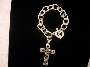 Chain Link Bracelet, Silver Tone With Filigree Cross Charm