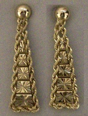 10kt Gold Diamond Cut  Riccio Drop Earrings