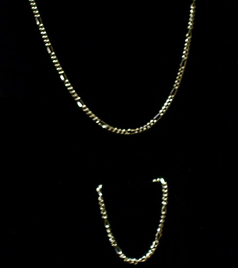 14 kt Gold Figaro 2 piece ( Necklace & Bracelet)