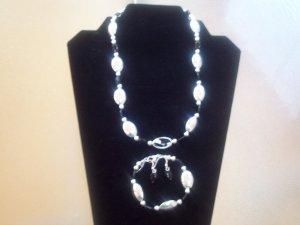 Stylish Silver/Jet Black Beaded Necklace Set