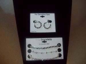 Silver/Jet Black Earrings and Trio Bracelets