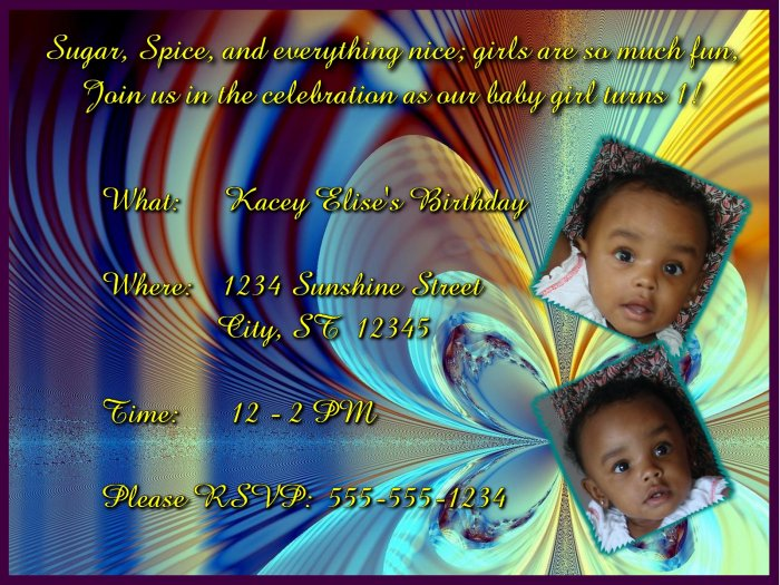 Vanity Butterfly Birthday Invitation for Girl