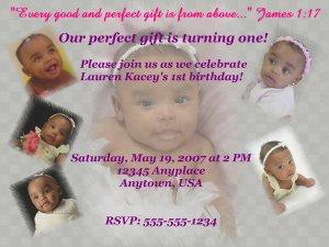 Vanity Birthday invite with Checkered Purple Background