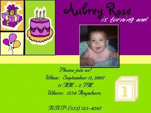 Green & Purple Birthday Invitation