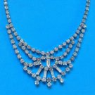 "VINTAGE FESTOON STYLE FANCY RHINESTONE NECKLACE UP TO 15"" LONG"